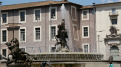 Fountain at Piazza della Repubblica in Rome Stock Footage
