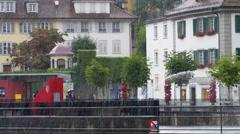 LUCERNE, SWITZERLAND - July 2013 - View around Lucern Switzerland in rainy day Stock Footage