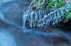 Icicles by mountain river in winter Stock Photos