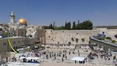 4K Western Wall with Rock of the Dome Stock Footage
