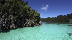 Limestone Islands and Shallow Lagoon Stock Footage