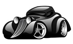Black Hot Rod Custom Coupe Illustration - stock illustration