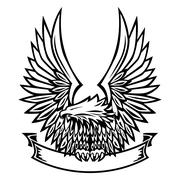 Eagle Emblem, Wings Spread, Holding Banner Piirros