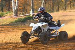 ATV motorbike rider (detailed view) Stock Photos