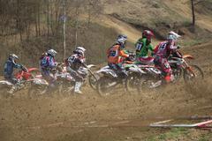 Start of motocross race - stock photo