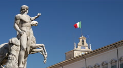 Quirinal Palace with statue and Italian Flag Stock Footage