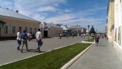 Citizens are walking down the main street of city Kolomna Kremlin Stock Footage