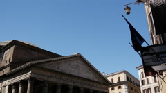 Pan from the The Pantheon in Rome Stock Footage