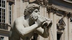 Close up from the fountain at Piazza Navona in Rome - stock footage