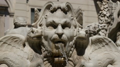 Close up from the fountain at Piazza Navona in Rome Stock Footage