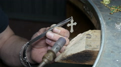 working a silver cross with the gas torch: goldsmith, silversmith, gold - stock footage