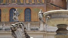 Fountain at Santa Maria in Trastevere Rome Stock Footage