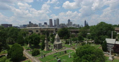 Aerial Footage of Downtown Atlanta shot from Oakland Cemetery Stock Footage