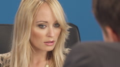 Close Up Of Beautiful Secretary Arguing With Her Boss Stock Footage