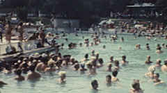 Bulgaria 1976: crowd in the swimming pool Stock Footage