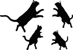 Vector Image - cat silhouette in Jumping pose Stock Illustration