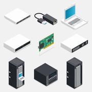 Networking isometric detailed icons set Stock Illustration