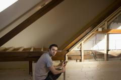 Reconstruction of the attic - stock photo