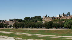 Pan from the Circo Massimo in Rome Italy Stock Footage