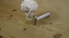 Traditional wet shaving. Shaving brush with cream and DE razor. 4K UHD. Stock Footage