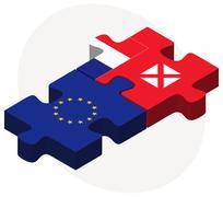Stock Illustration of European Union and Wallis and Futuna Flags