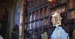 Church. Chernivtsy, Ukraine. Iconostasis. Stock Footage