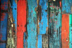 Brightly Colored Panels of Weathered Wooden Boards Stock Photos