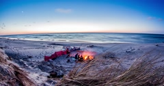 Sunset Fire At The Sea Timelapse 4k Stock Footage