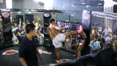 Boxing cage match muay thai Stock Footage