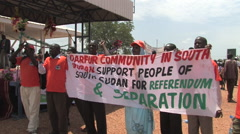 DARFUR COMMUNITY SUPPORTS AT POLITICAL RALLY IN SOUTH SUDAN, AFRICA Stock Footage