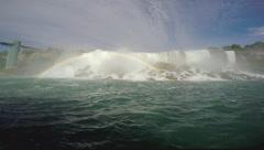 Niagara Falls American Falls with Rainbow Stock Footage