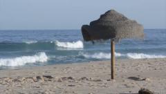 Algarve - Tavira Island Parasol Ocean View Stock Footage