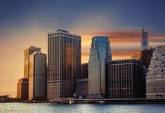 Manhattan. Sunset in New York City. Stock Photos