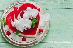 Cake in the form of heart Stock Photos
