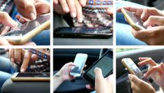 Collage of sliding and typing touch screen of smart phone and tablet computer Stock Footage