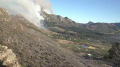 Cape Town-March,2015: Fierce bush fires endanger property on the slopes of Table Stock Footage