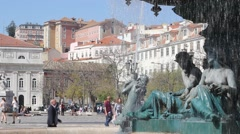 Fountain at Rossio square in Lisbon Stock Footage
