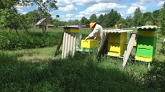 Beefarm and beekeeper honey farmer apiarist - long-shot Stock Footage