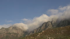 Clouds rolling over 12 Apostle mountains, Cape Town,South Africa - stock footage