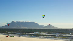 4K Time-lapse of windsurfers with Table Mountain,Cape Town, South Africa Stock Footage