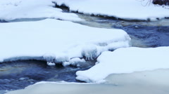 River stream with floating ice in 4K Stock Footage