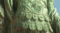 Statue of Roman Emperor in Rome Stock Footage