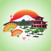 Japanese abstract background with fans, mountain, red sun - stock illustration