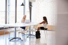 Businesswoman interviewing a job applicant Stock Photos