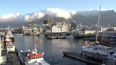 Panning shot of the Victoria and Alfred Waterfront,Cape Town,South Africa Stock Footage