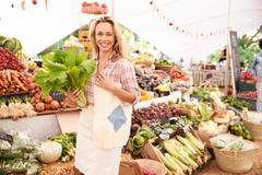 Female Customer Shopping At Farmers Market Stall Stock Photos
