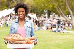 Woman With Fresh Bread Bought At Outdoor Farmers Market Stock Photos