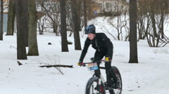 Winter Mountain Bike Race at Hyperborea Snow Fest in Petrozavodsk, Russia Stock Footage