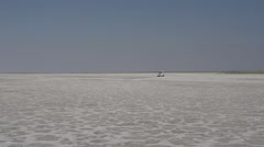 Car driving across the Makgadikgadi Salt Pans, Botswana Stock Footage