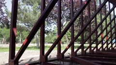 Frame metal structure in the park 3 Stock Footage